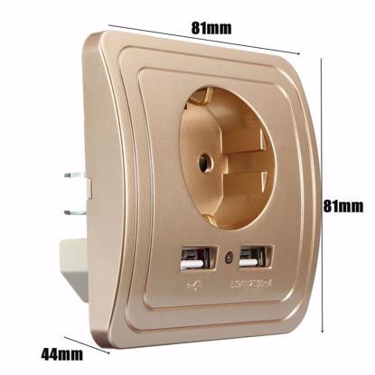 Incarcator priza cu 2 iesiri USB, 5V/2A ,Cu sport telefon ,gold, PROMOTIE !!