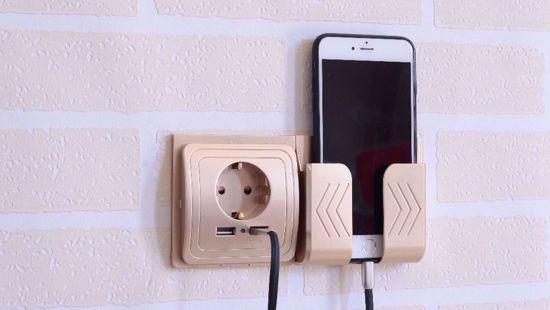 Imagine Incarcator priza cu 2 iesiri USB, 5V/2A ,Cu sport telefon ,gold, PROMOTIE !!