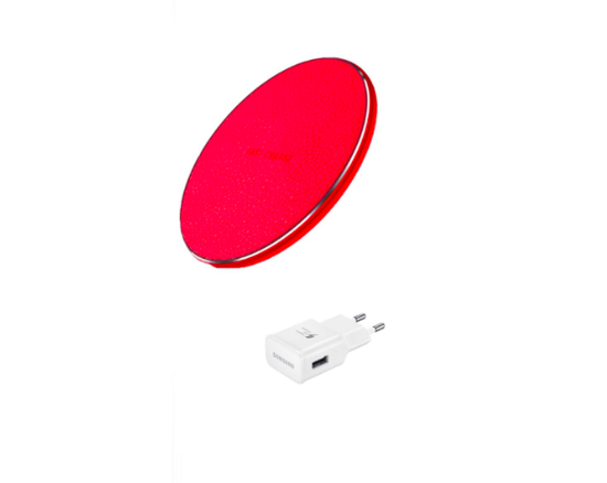 Imagine Incarcator wireless fast charge, LEATHER ,Ultra Slim 10W, RED +Incarcator FAST Chargers 9V/1,67A or 5V/2A
