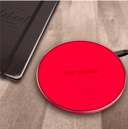 Incarcator wireless fast charge, LEATHER ,Ultra Slim 10W, RED +Incarcator FAST Chargers 9V/1,67A or 5V/2A