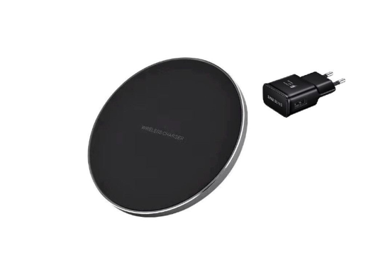 Imagine Incarcator wireless fast charge, LEATHER ,Ultra Slim 10W,BLACK +Incarcator FAST Chargers 9V/1,67A or 5V/2A