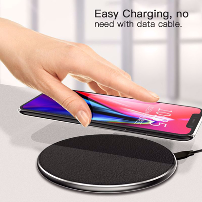 Incarcator wireless fast charge, LEATHER ,Ultra Slim 10W,BLACK +Incarcator FAST Chargers 9V/1,67A or 5V/2A