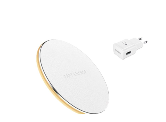 Imagine Incarcator wireless fast charge, LEATHER ,Ultra Slim 10W, WHITE +Incarcator FAST Chargers 9V/1,67A or 5V/2A