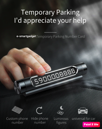 Imagine Dispozitiv  rotativ ,afisare numar de telefon, pentru parcare temporara, E-smartgadget,, Negru