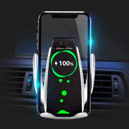 E-smartgadget , Incarcator Wireless AutoSuport, FAST CHARGE, DELUXE S5 ,10W pentru iphone 8,8+,X,Xs,XsMax, samsung S8,9,Note8,9,S10, prindere grila ventilatie+Ventuza , Silver