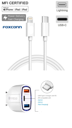 Cablu de date Foxconn ligthning to usb C iPhone 11pro,11promax, iOS 13 ,+Incarcator Auto Fast 12V/3.5A ,set