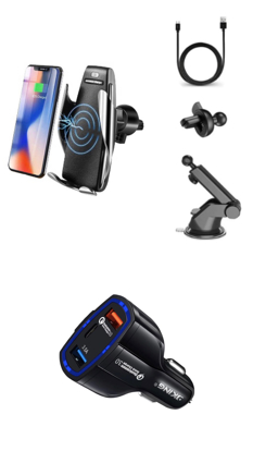 Imagine Smart sensor, Incarcator Wireless AutoSuport, FAST CHARGE, VERSIUNE NOUA,10W pentru telefon, prindere grila ventilatie+ventuza ,+Fast car chargers 9v/3.1A, ORIGINAL S5,,iphone 8,8+x,xs,xsmax  samsung s10,s10+,s9,s9+,s8,Note8,9  Huawei mate20 pro,P30 Pro