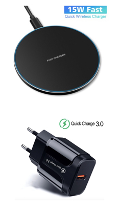 Imagine Incarcator wireless fast charge EFOX, Aluminum Ultra Slim 15W, Black , +Incarcator FAST Chargers 18w /3.0