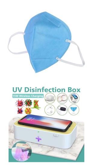 Imagine Cutie de dezinfectare UVC wireless chargers15W Sterilizator pentru masti include 10 masti KN95