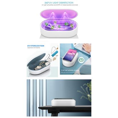 Cutie de dezinfectare UVC, wireless chargers15W,Sterilizator  Ideala pentru:  Masti / telefon mobil / instrumente de infrumusetare / ochelari / ceasuri