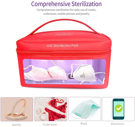 Imagine Geanta de dezinfectare UV, Rosu ,Sterilizator pentru masti KN95