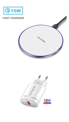 Imagine Incarcator wireless fast charge EFOX, Aluminum Ultra Slim 15W, white+Incarcator FAST Chargers 18W 3.0