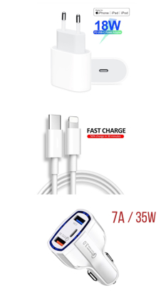 Imagine Set ,Incarcator Fast Charge  APPLE  18W pentru iPhone 11pro,11 Pro Max +Cablu de date fast charge 1m Type-C-Lightning + Adaptor fast auto 7A