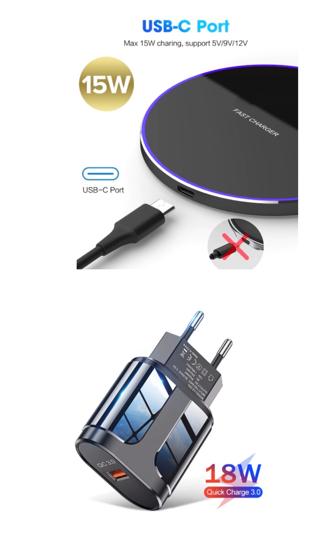 Imagine Incarcator wireless fast charge 15W,,Ultra Slim 15W +Incarcator FAST Chargers 18W/3.0 -pentru samsung S20/20ULTRA/S20PLUS