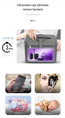 Imagine Geanta de dezinfectare 12 UVC LED , Gri Inchis   ,Sterilizator pentru masti KN95