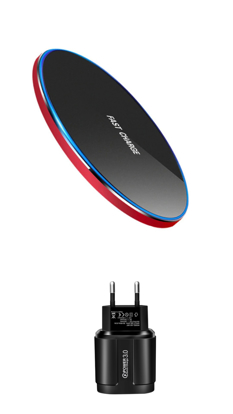 Incarcator wireless fast charge 15W,,Ultra Slim 15W +Incarcator FAST Chargers 18W/3.0 - black/red