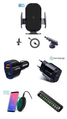 Imagine Set 5 buc : Incarcator car Automatic SMART sensor,fast wireless chargers universal ,15W,New model