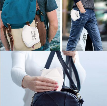 Set 10 bucati Masca de protectie KN95 FFP2 plus 4 bucati cutii portabile pentru depozitare ,alb