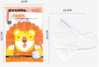 Masca KN95 , Pentru Copii 5-12 Ani Set 10 buc, alb ,Ambalaj Individual
