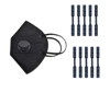Imagine Set 10 Buc Masca Respiratoare KN95 FFP2 negru valve Plus 10 Dispozitive De Prindere,ambalaj ,individual