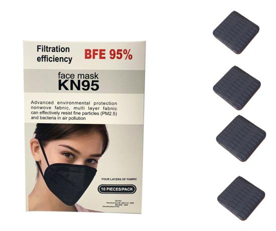 Imagine Set 10 bucati Masca de protectie KN95 FFP2 plus 4 bucati cutii portabile pentru depozitare,negru -EX2