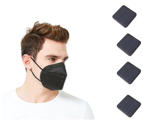 Imagine Set 10 bucati Masca de protectie KN95 FFP2 plus 4 bucati cutii portabile pentru depozitare,negru