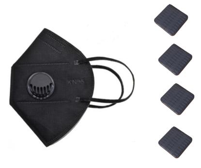 Set 10 Bucati Masca De Protectie KN95 FFP2 cu valve Plus 4 Bucati Cutii Portabile Pentru Depozitare,Negru