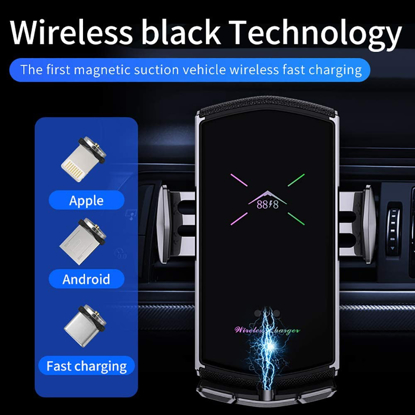 Imagine 3in1 Incarcator Auto Wireless 10W, FAST CHARGE universal , Smart sensor ,universal IPHONE ,SAMSUNG,HUAWEI