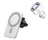 Imagine Set Incarcator magnetic wireless car charger alb, pentru iPhone 12/12 Pro/12 Pro Max/12 Mini, plus incarcator auto 7A