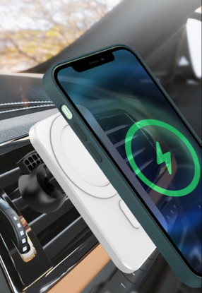 Set Incarcator magnetic wireless car charger alb, pentru iPhone 12/12 Pro/12 Pro Max/12 Mini, plus incarcator auto 7A
