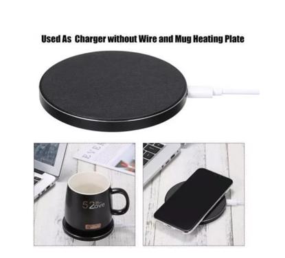 Incarcator Qi Wireless fast charge 18W 2 in 1 cu incalzire cana prin inductie negru