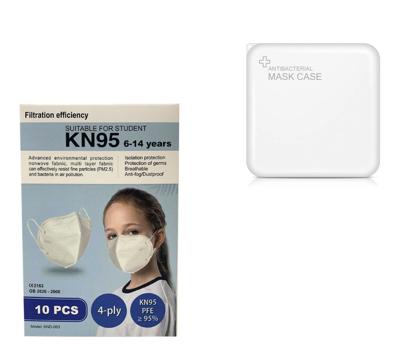 Imagine Set 10  buc masca pentru copii e-smartgadget KN95 FFP2 alb plus 1 buc cutie portabile pentru depozitare ,6-14 ani