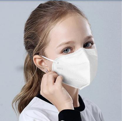 Set5  buc masca pentru copii e-smartgadget KN95 FFP2 alb  ,6-14 ani