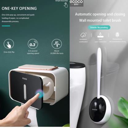 Set Perie silicon pentru toaleta cu suport hartie igienica cu raft de depozitare dispenser
