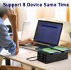 Imagine 150W, 8 in 1 incarcator USB PD cu 6 porturi si incarcator dublu wireless de 15 W ,Afisaj LED Statie de incarcare ,Negru