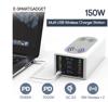 Imagine 150W, 8 in 1 incarcator USB PD cu 6 porturi si incarcator dublu wireless de 15 W ,Afisaj LED Statie de incarcare ,Alb
